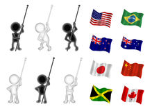 Little men figures holding flags. Figures are seperated from flags so that any flag can be added to any figure Stock Image