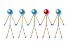 Little men made of blue matches one of them is different Stock Image