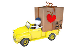 Little men transports parcel to day Saint Valentina Royalty Free Stock Images