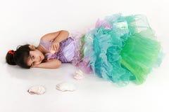 Little mermaid. Little girl dressed as mermaid for halloween stock photo