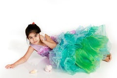 Little mermaid. Little girl dressed as mermaid for halloween royalty free stock photography