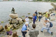 Little mermaid. Llittle mermaid sculpture in Copenhagen Denmark stock images