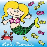 Little mermaid. Illustrated little mermaid with fish and crab. vector image Stock Photo