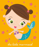 Little mermaid. Illustration of little mermaid with otange background Stock Images