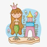 Little mermaid art cartoon. Icon vector illustration graphic design cute and pastel colors, magical and beauty style Fantasy girl world Royalty Free Stock Images