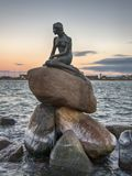 The little Mermaid as the sun sets Royalty Free Stock Photography