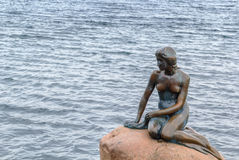 The Little Mermaid, Copenhagen. The Little Mermaid is a bronze statue by Edvard Eriksen, depicting a mermaid. The sculpture is displayed on a rock by the royalty free stock photos
