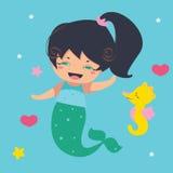 Little mermaid de diversión y seahorse Fotografía de archivo libre de regalías