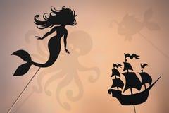 Little mermaid fairytale, shadow puppets stock image
