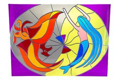 The little mermaid and fire - stained glass Royalty Free Stock Photos