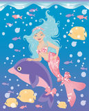 Little mermaid girl and dolphin Stock Photo