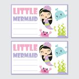 Little mermaid girl with her friend vector cartoon illustration for birthday card design. Postcard, and wallpaper stock illustration
