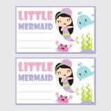 Little mermaid girl with her friend vector cartoon illustration for birthday card design Stock Photos