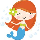 Little mermaid girl illustration isolated vector illustration