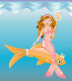 Little mermaid girl with trident Royalty Free Stock Images