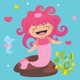 Little mermaid lindo y seahorse Foto de archivo