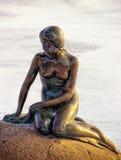The little Mermaid monument in winter Copenhagen Royalty Free Stock Image