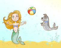 Little mermaid playing ball with her pet dog. Vector illustration. Layers are managed and arranged for easy editing Stock Photos