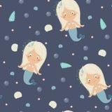 Little mermaid seamless pattern Royalty Free Stock Photos
