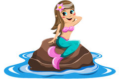 Little Mermaid sitting Rock Sea  Stock Photos