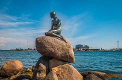 The Little mermaid statue in Copenhagen Denmark. The little mermaid statue in Copenhagen city in Denmark royalty free stock photography