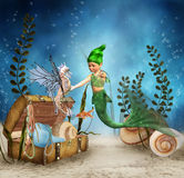 Little Mermaid 4. A sweet little mermaid meets her friend, the seahorse Royalty Free Stock Photo