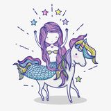 Little mermaid with unicorn art cartoon. Icon vector illustration graphic design magic and Fantasy girl world cute fairy tale vector illustration