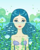 Little mermaid. Vector illustration  the little mermaid looks out of water Royalty Free Stock Images