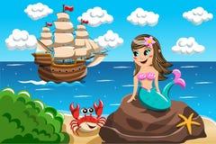 Free Little Mermaid Watching Vessel Stock Images - 60984654
