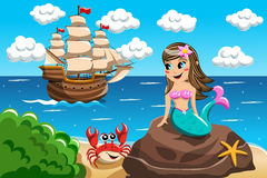 Little Mermaid watching vessel Stock Images