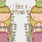 Little mermaids art cartoon. Icon vector illustration graphic design cute and pastel colors, magical and beauty style Fantasy girl world Stock Image