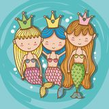 Little mermaids art cartoon. Icon vector illustration graphic design cute and pastel colors, magical and beauty style Fantasy girl world Stock Photos