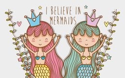 Little mermaids art cartoon. Icon vector illustration graphic design cute and pastel colors, magical and beauty style Fantasy girl world Royalty Free Stock Photography