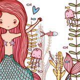 Little mermaids cute cartoons. Colorful vector illustration graphic design Royalty Free Stock Image