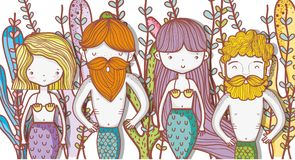 Little mermaids cute cartoons. Colorful vector illustration graphic design Royalty Free Stock Photo