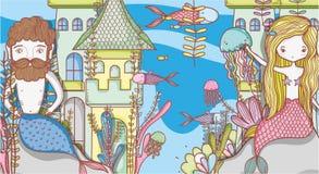 Little mermaids cute cartoons. Colorful vector illustration graphic design Stock Image