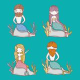 Little mermaids cute cartoons. Colorful vector illustration graphic design Stock Photo