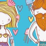 Little mermaids cute cartoons. Colorful vector illustration graphic design Stock Photos