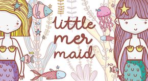 Little mermaids cute cartoons. Colorful vector illustration graphic design Royalty Free Stock Photography