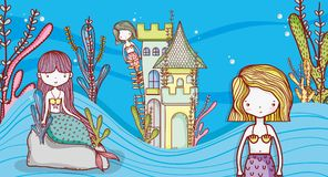 Little mermaids cute cartoons. Little mermaids on sea world cute cartoons colorful vector illustration graphic design Royalty Free Stock Images