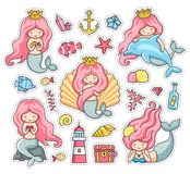 Under the sea. Set of cartoon stickers, patches, badges, pins, prints. stock illustration