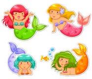 Little mermaids. Set of cartoon little mermaid Stock Photography