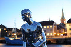 The Little Merman statue. In Denmark stock photo