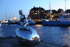 The Little Merman statue. In Denmark stock photography