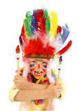 Little messy artist indian costume Royalty Free Stock Images