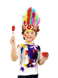 Little messy artist indian costume Stock Photos