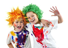 Little messy artists Royalty Free Stock Photo
