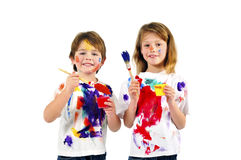 Little messy artists Royalty Free Stock Photos