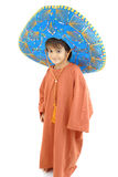 Little Mexican. Little Boy with a Mexican Mariachi hat on white Royalty Free Stock Photography