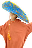 Little Mexican. Little Boy with a Mexican Mariachi hat on white Royalty Free Stock Photos